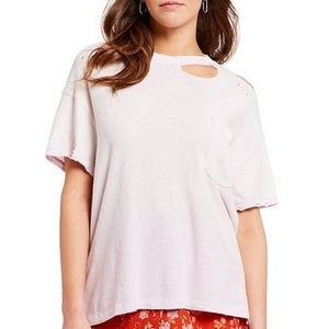 Free people distressed lucky tee